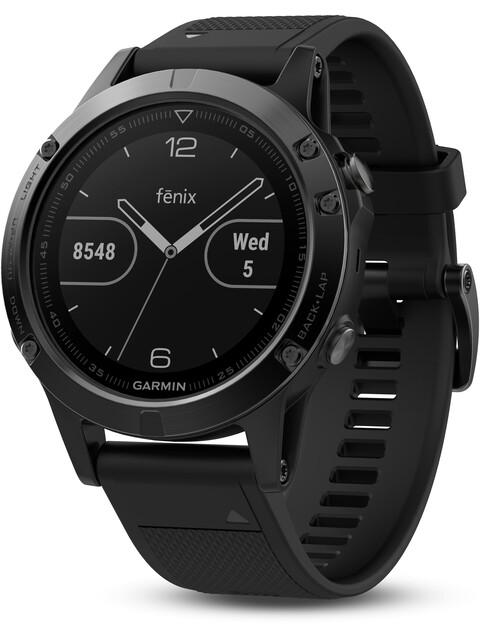 Garmin fenix 5 GPS Multisportuhr mit schwarzem Armband saphir